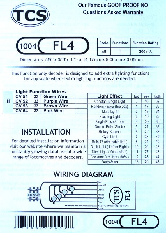 FL4 Fleet lighter 4 function only decoder