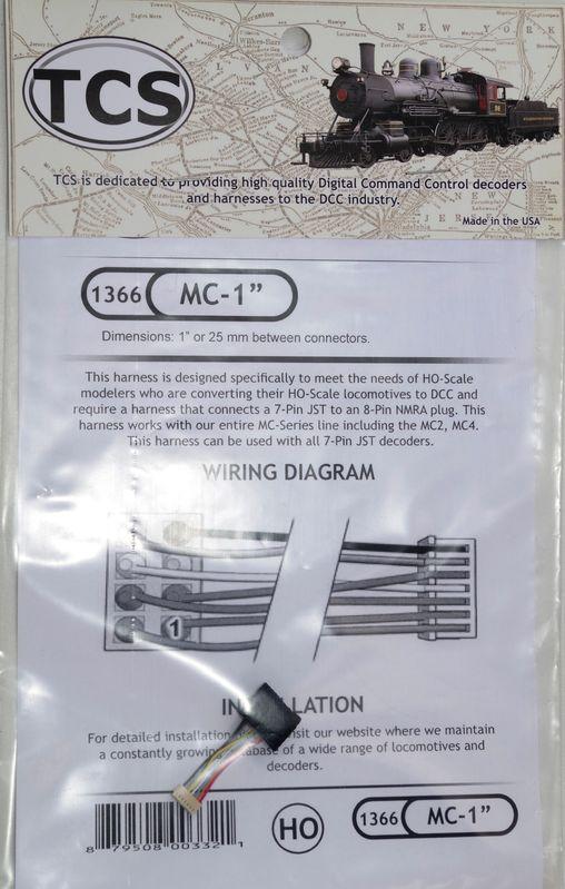 MC 1+39 1 or 25 mm harness 8 pin NMRAplug for MC series decoder
