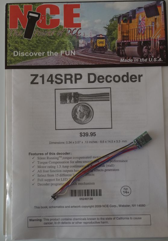 NCEZ 14SR P Tiny Decoder with NMRA 8 pin plug