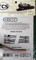 MC-3.5' is a 3.5' or 75 mm harness with a 8 pin NMRA plug for the MC S